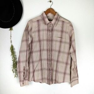 Rockies Beige and Pink Plaid Button Down